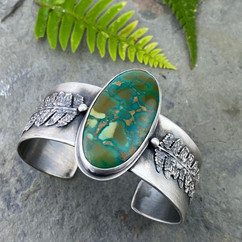 Turquoise and fern cuff bracelet