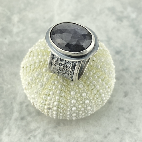 Gray Sapphire and Sea Urchin Ring