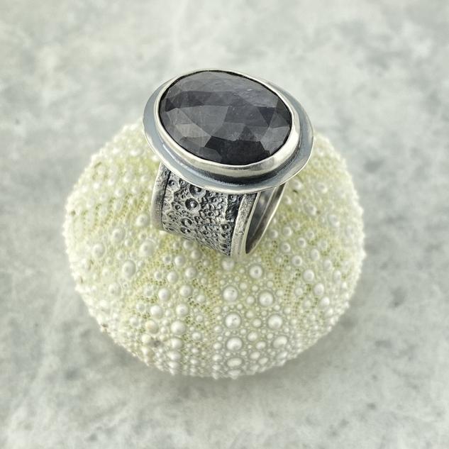 Grey Sapphire Sea Urchin Ring, Size 8.5