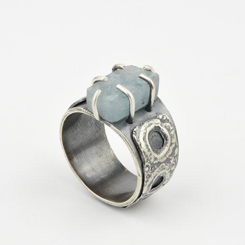 Rough Cut Aquamarine and Sea Urchin Ring