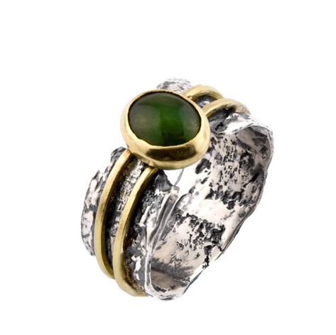 Jade, Cast Bark, and Gold Ring