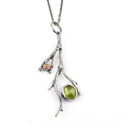 Twig Necklace with Peridot and Citrine stones