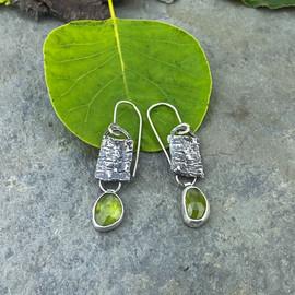 peridot and bark earrings