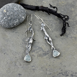 Aquaphase and cast seaweed earrings