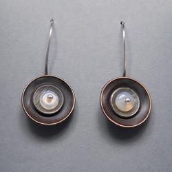 Copper, Silver and Opal Earrings