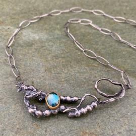 Teal Kyanite and Seaweed necklace