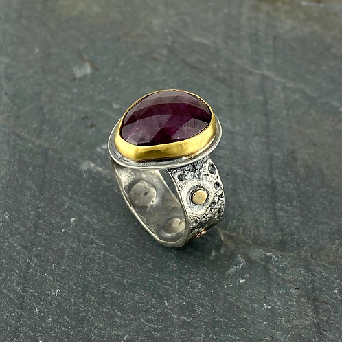 Ruby and Gold Sea Urchin Ring