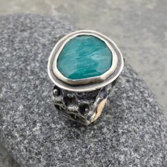 amazonite and urchin ring