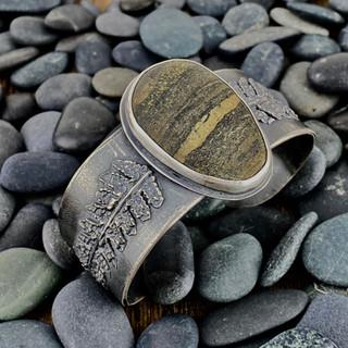 Beach Stone and Fern Cuff