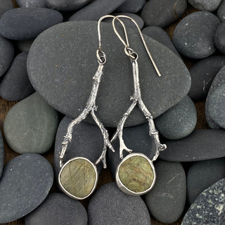 Green Beach Stones and Twig Earrings