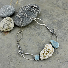barnacles and roughcut aquamarine necklace