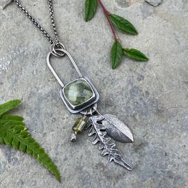 prehnite fern charm necklace