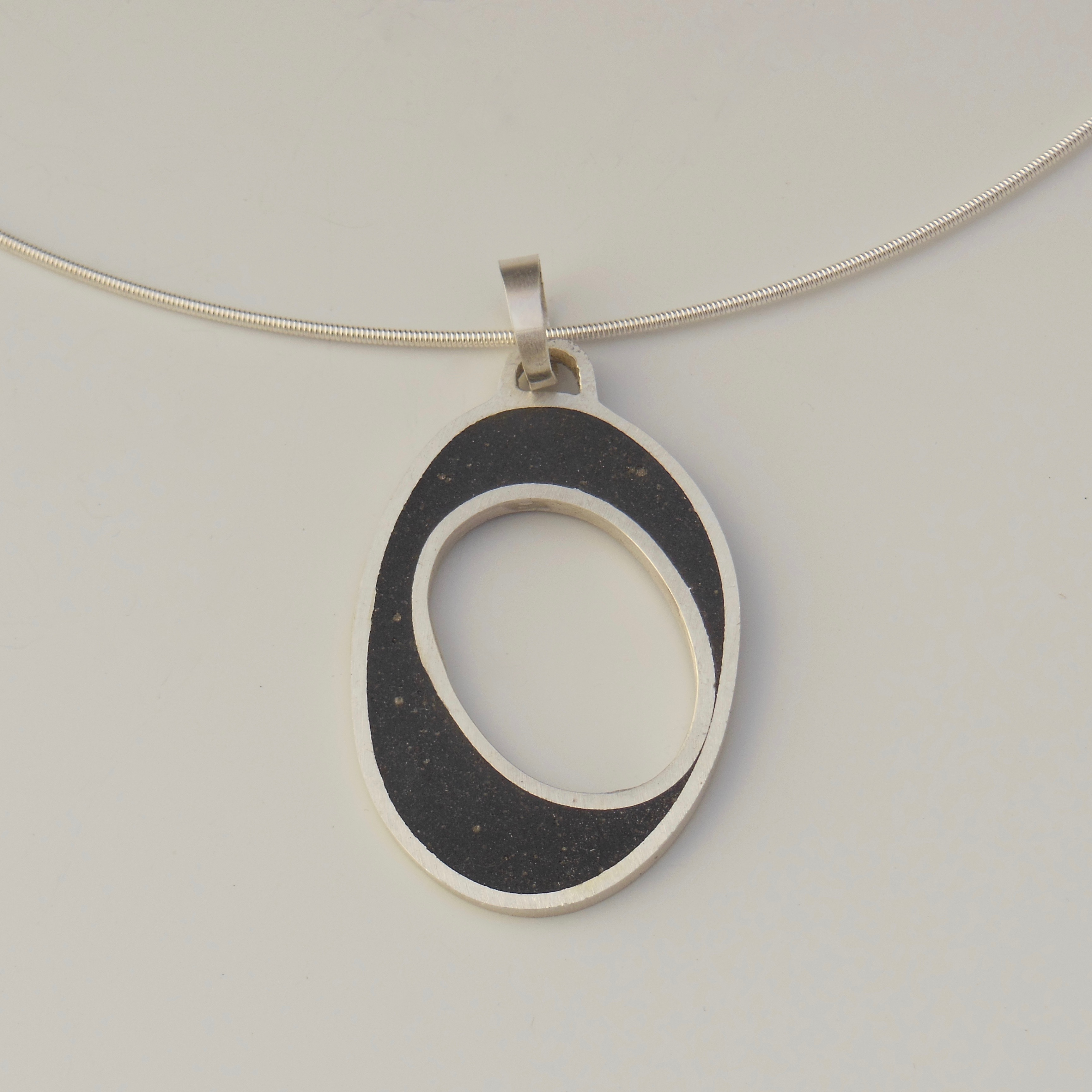 Black Sand Oval Pendant