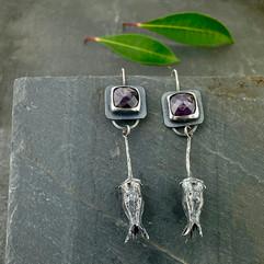 Purple Star Sapphire Earrings