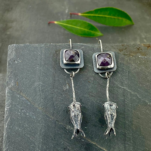 Purple Star Sapphire and Seed Pod Earrings