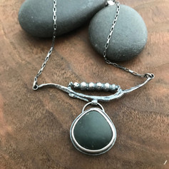 Seaweed and Beach Stone Necklace