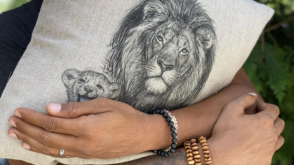 Coussin carré lin Lion Lionceau