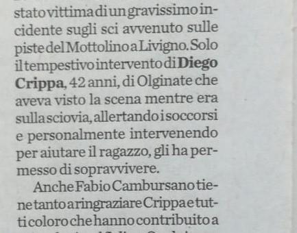 La provincia di Lecco 22 Marzo 2014: Diego Crippa salva un ragazzo caduto con gli sci