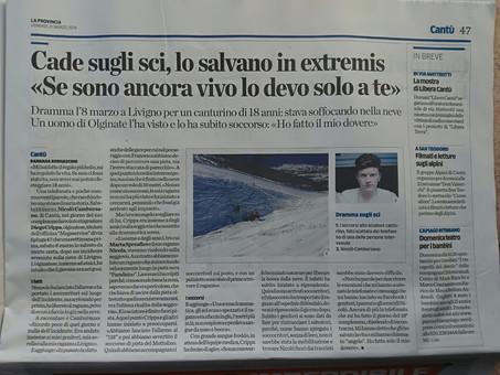 La provincia di Como 21 Marzo 2014: Cade sugli sci, Diego Crippa lo salva in extremis
