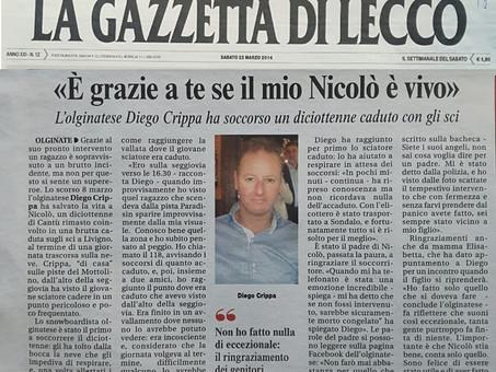 La gazzetta di Lecco 21 Marzo 2014: Diego Crippa soccorre un diciottenne caduto con gli sci