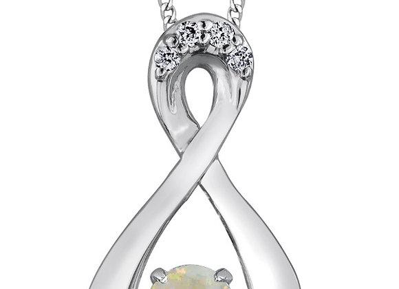 PULSE - Genuine Birthstone White Gold Pendant