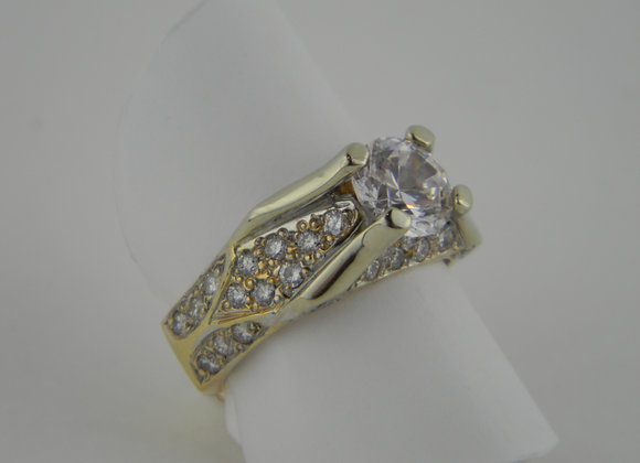 14 K Cubic Zirconia Custom Ring