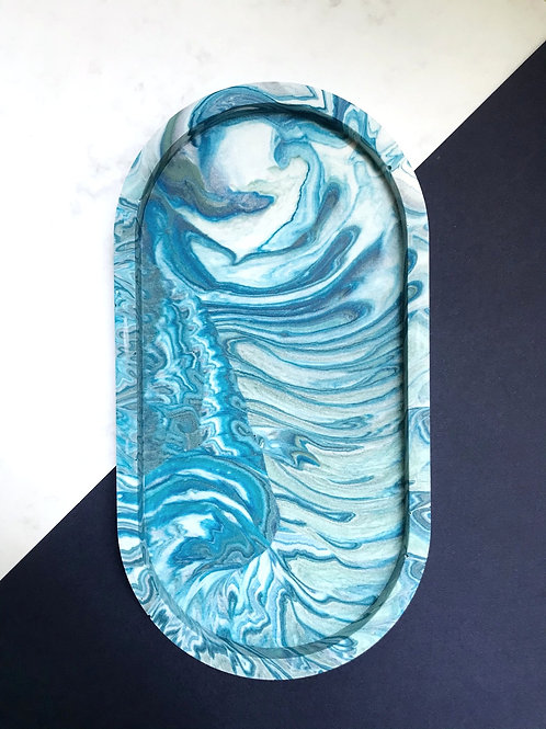 pill tray: marbled blue & green