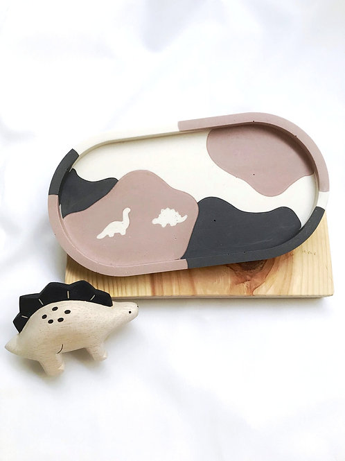 dino tray: black & dusty pink