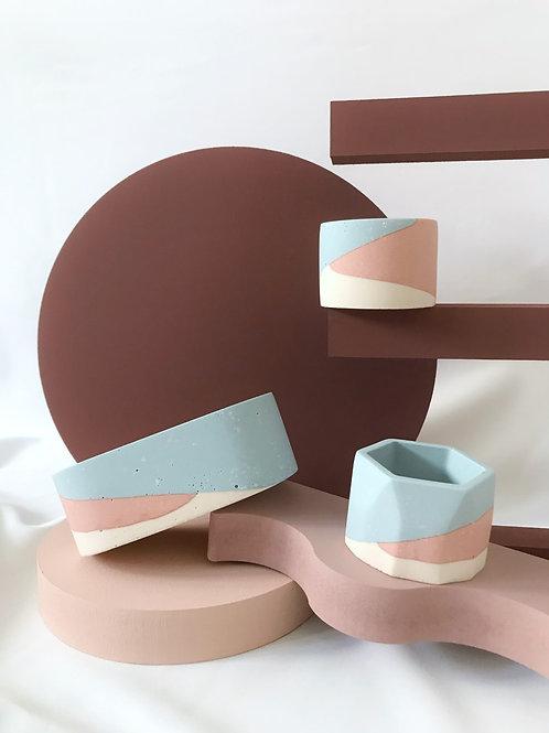 little pots: blue, pink, off-white
