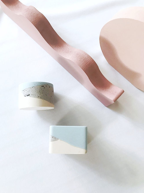 little pots: blue, granite, off-white
