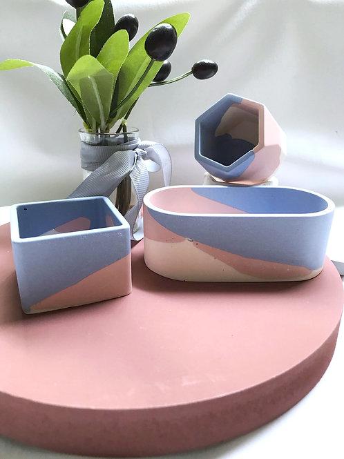 little pots: blue white pink [set of 3]