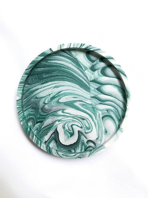 round dish: marbled green