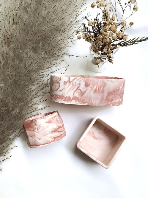 little pots: blush marbling [set of 2]