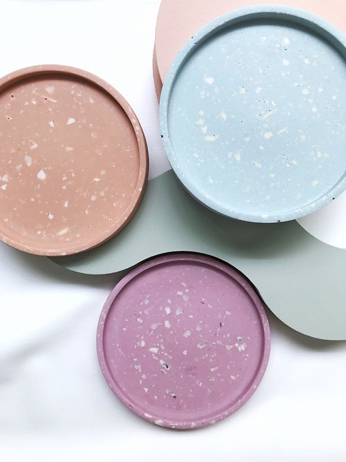 round dish: terrazzo pastels