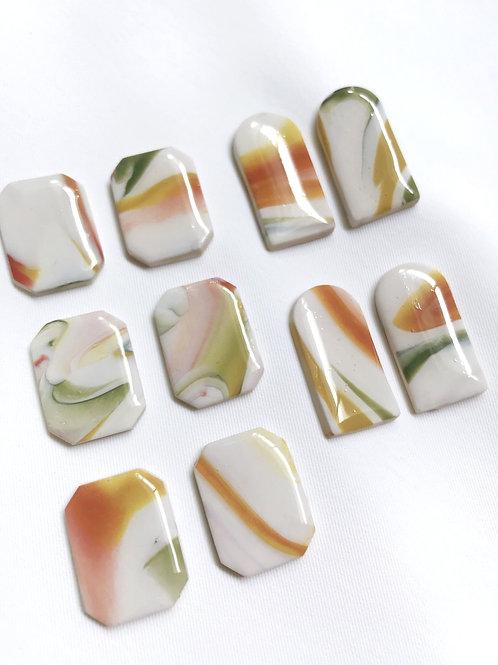 autumn swirls #1 glazed studs
