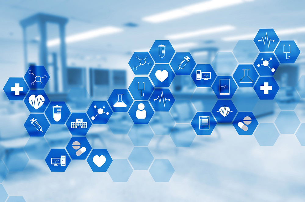 Display of blue hexagons surrounding pharmacy-related icons.