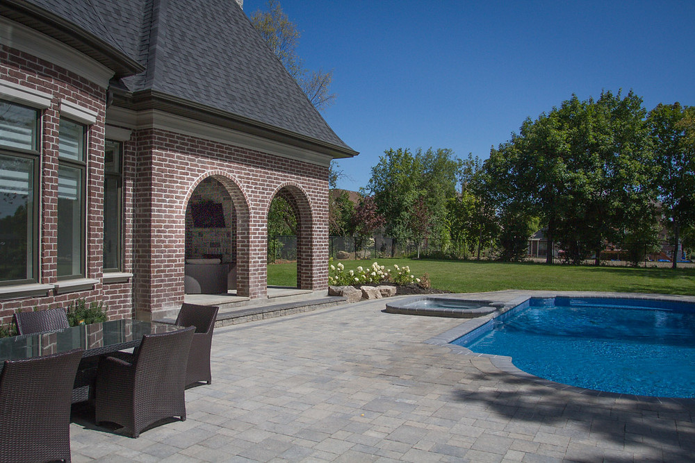 Patio Stones installed on a back patio or around a pool are a great option for a quality long lasting solution. Polyeric sand in between the joints of the pavers to ensure weeds are not an issue. Over time, some small touch ups may be required to maintain the look but patio stones actually require the least maintenance of the available options.