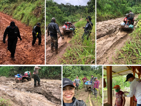 Equipe de Saúde enfrenta chuva, lama e atoleiro para levar vacina contra Covid-19 ao Icuriã