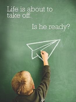 Life is about to take off boy blackboard