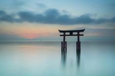 Temple gate on lake Biwa