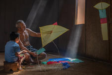 Making a kite together