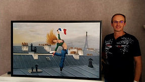 Moi et un de mes derniers tableaux.jpg