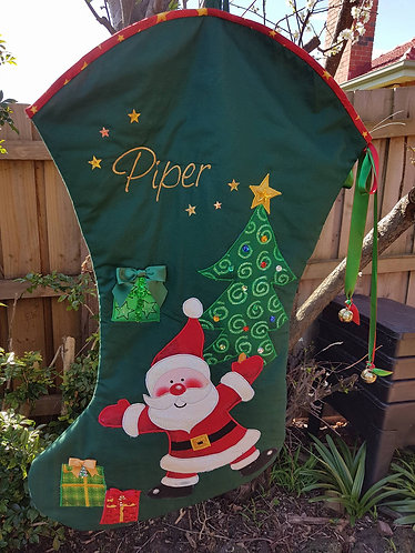 Dancing Santa - Christmas Stocking - Large