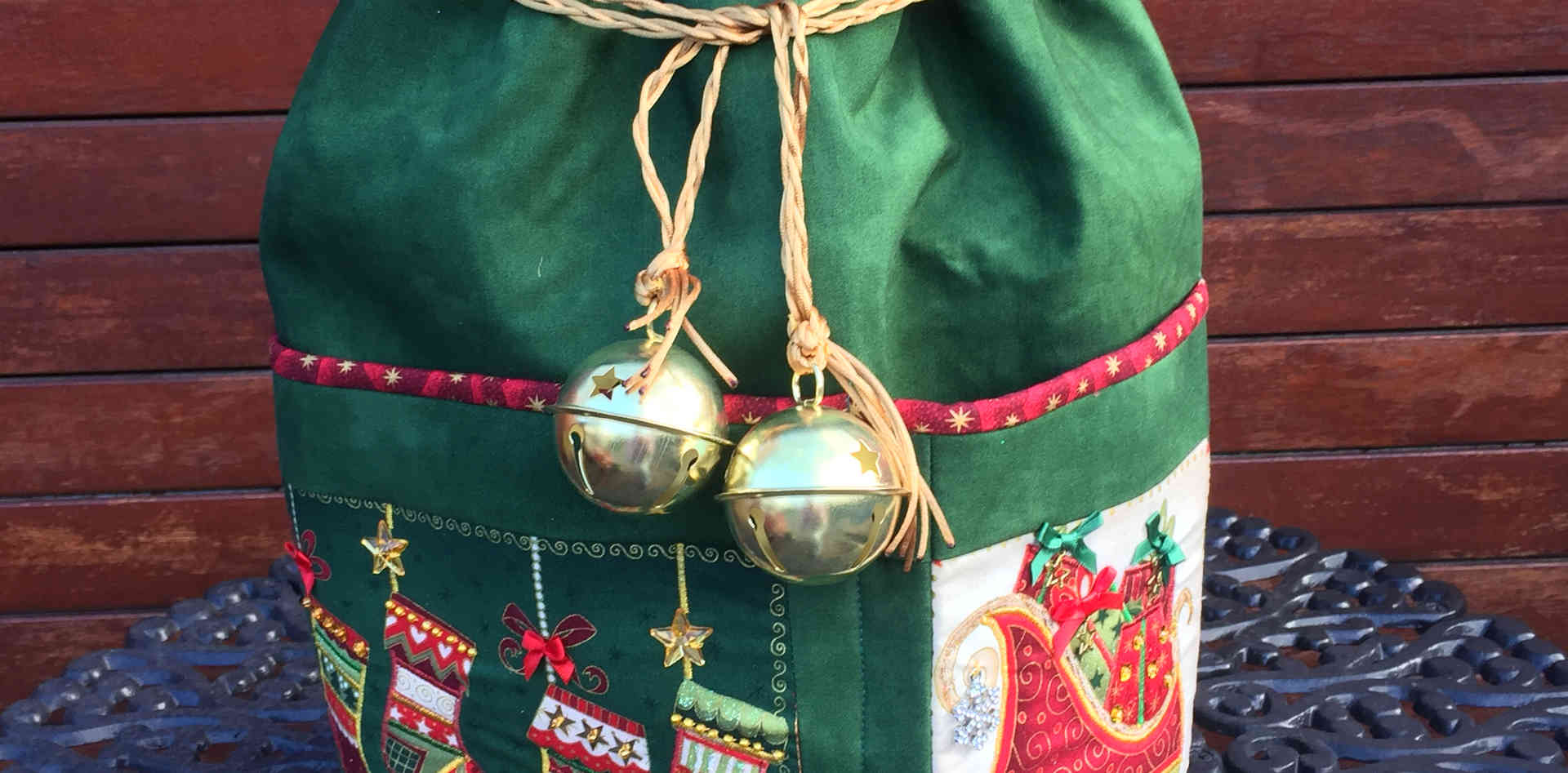 """""""Bells of Holly"""" Large Round Standing Santa Sack"""