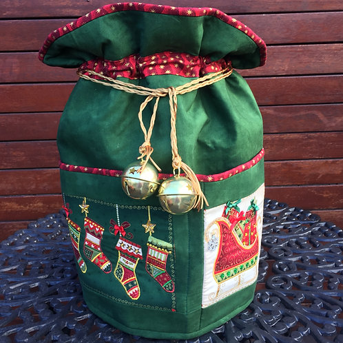 Bells of Holly - Round Standing Sack - Large