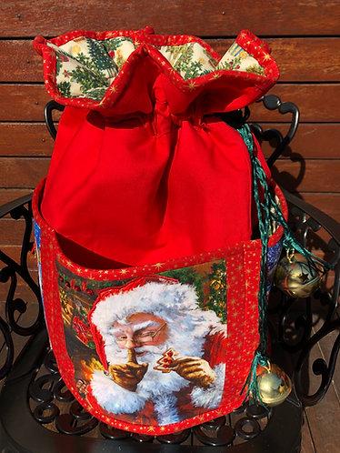 Shhh Santa - Round Standing Sack - Large