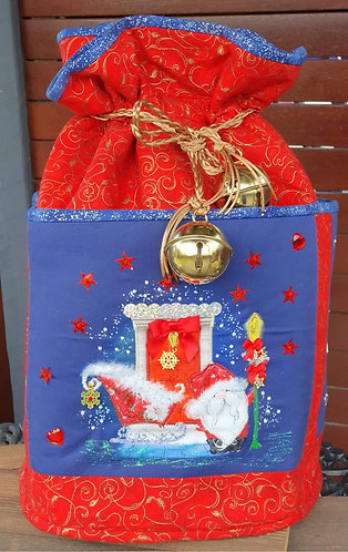 Santa at the Door - Round Standing Sack - Large