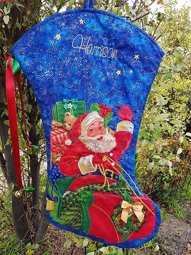 Santa's Sleigh - Christmas Stocking - Large