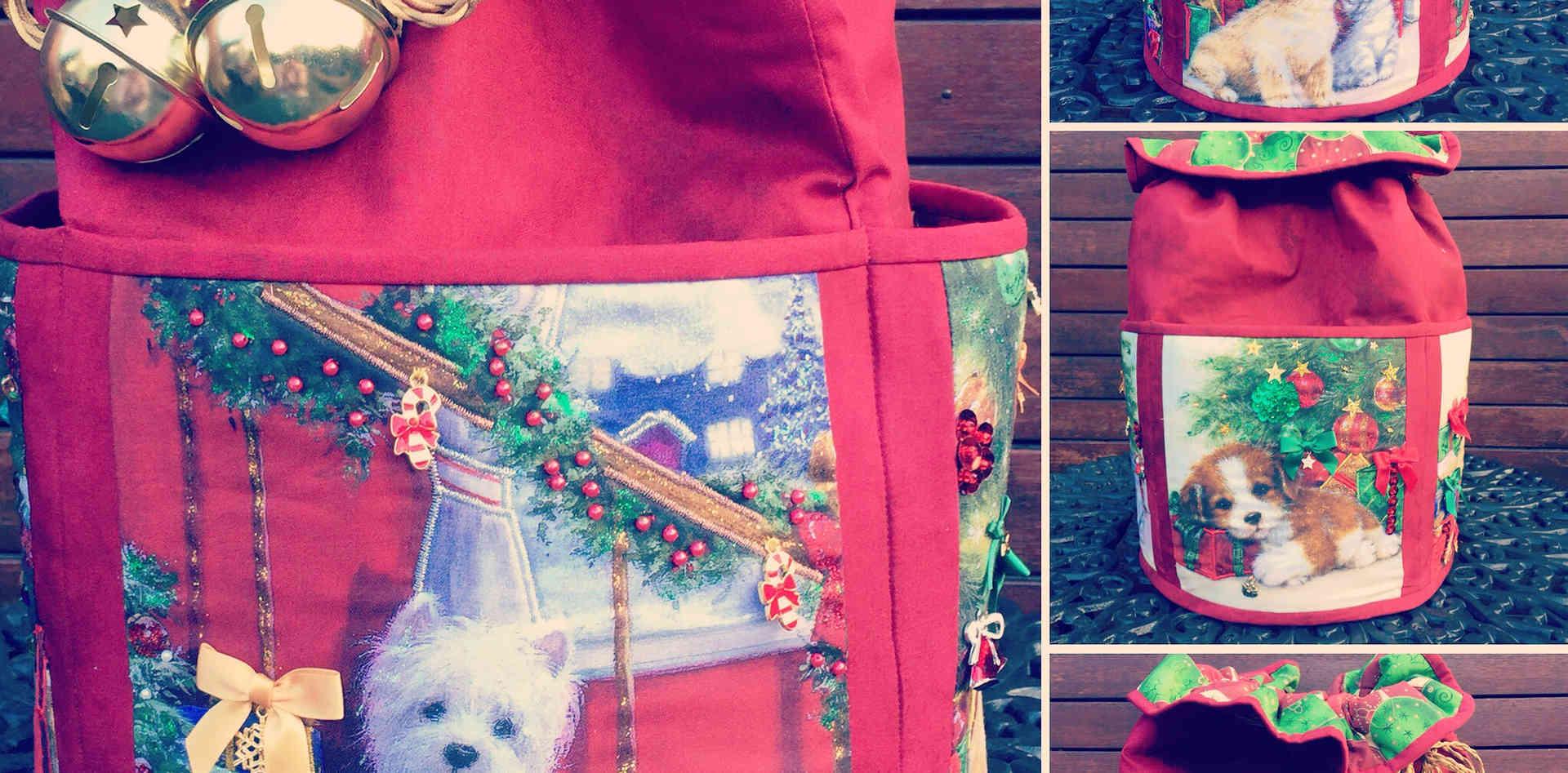 """""""Puppy Love"""" Round Standing Santa Sack"""