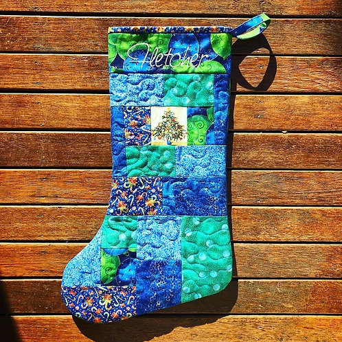 Christmas Night - Patchwork Stocking - Medium
